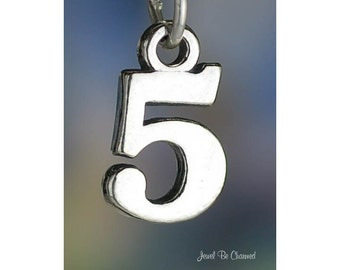 Sterling Silver Five Number 5 Charm Numeral Digit Age Date Solid .925
