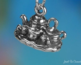 Sterling Silver Tea Set Charm Teapot Tray Creamer Sugar 3D Solid .925
