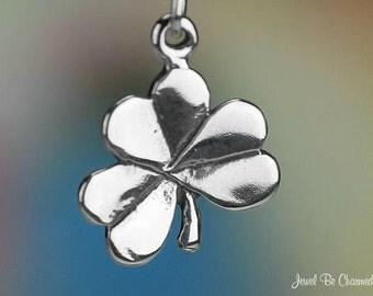Sterling Silver Shamrock Charm Irish Clover Holy Trinity Solid .925