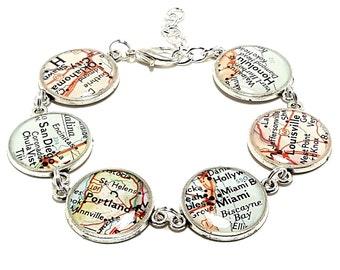 Custom Vintage Map Bracelet. You Select Six Locations Worldwide. Travel Map Jewelry. Personalized Charm Bracelet. Resin City Bracelet.