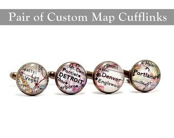 SALE CUSTOM Vintage Map Cufflinks. One Pair. You Pick Two Cities. Wedding Cufflinks. Groom. Personalized Anniversary Gift Ideas.