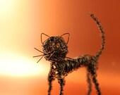 Black Copper Wire Cat Sculpture UK SELLER
