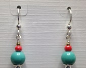 Turquoise Pressed Glass and Coral beaded earrings