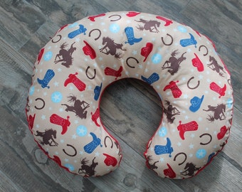 SALe-boppy cover, cowboy boppy cover with red minky dot on the back- Ships Today