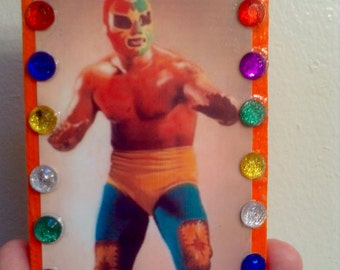 Astro Rey Luchador Wooden Key Holder - Mexican Folk Art - Key Rack - key organizer - Lucha Libre Wrestler - wall key holder