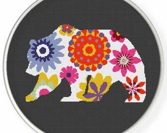 Instant Download,Free shipping,Counted Cross stitch pattern,Cross-Stitch PDF,flower bear ,zxxc0952