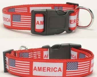 Handmade American National Flag Choke Collars Dog Collars Grosgrain Ribbon Dog Collars 26 -55 mm Length