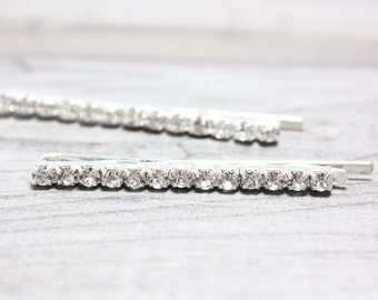 Rhinestone Hairpins ,Sparkling Crystals, Set of two Hairpins, Ready to ship