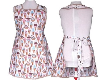 Woman's Plus Size Apron, Ice Cream cones and Polka Dots - Full Kitchen Apron - Size 2X