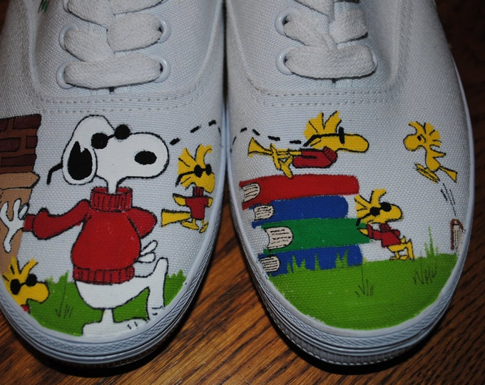 For Sale just finished painting Joe Cool and Woodstock friends size 8 womens shoe