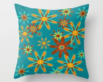 Outdoor Pillow, Modern Outdoor Pillow,  Retro Outdoor Pillow, Floral Outdoor Pillow, Mid Century Outdoor Pillow, Outdoor Throw Pillow