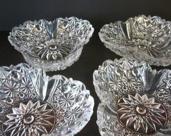 Fall Sale Button and Bows Pressed Glass Stacking Clear Candy Nut Dishes Set of 4