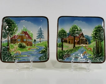 Two Vintage Raised Relief Square Plates, Made in Germany