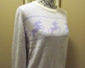 Vintage Pastel Purple Unicorn Hearts Sweater