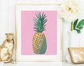 Modern Pop Pineapple Print, Pink Pineapple Painting, Tropical Fruit Gallery Wall Decor, Fresh Fruit Painting