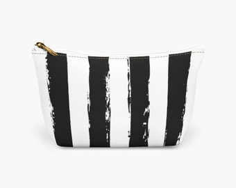 Black and White Striped Makeup Travel Bag for Women -  Designer Cosmetic Bag - Bridesmaid Gift - Gift for Her Makeup Bag - Makeup Pouch