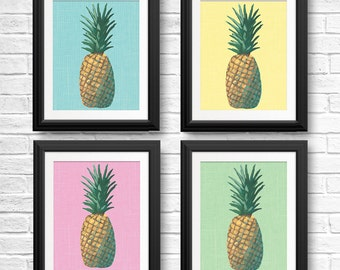 Set of 4 Pineapple Prints, Modern Pop, Yellow Green Pink Turquoise Pineapple Painting, Tropical Gallery Wall, Palm Beach, Modern Decor
