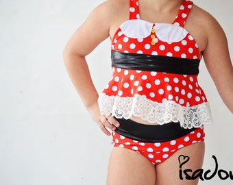 Girls Minnie Mouse Swim Suit