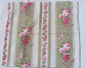 Antique Vintage French 1940's Ticking Fabric 3 Pillow slips cushion covers taupe pink roses