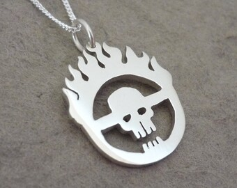 Sterling Silver Immortan Joe Symbol Pendant on Chain