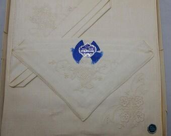 Gift Box of 3 Pure Irish Linen Embroidered Handkerchief