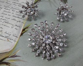 CORO Signed Rhinestone Snowflake Brooch & Earrings Set    NCA14