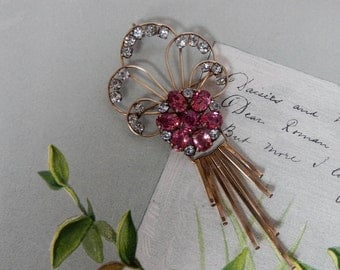 Signed 12k Gold Filled & Pink Rhinestone Flower Brooch w/ Dangles