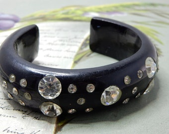 1950s Vintage Wide Black Plastic Bangle Cuff Bracelet w/ Rhinestones