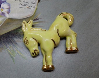 California Pottery Yellow Donkey or Bucking Bronco Brooch    NAQ29