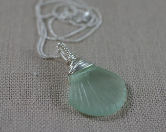 Scallop Seashell Sea Glass Necklace - Aqua, Pink or Turquoise