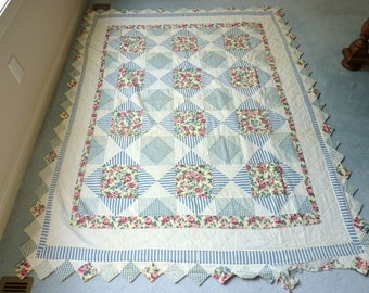 1950's Cutter Quilt Diamond Square Blue With Pink Roses Hand Quilted  62 x 78