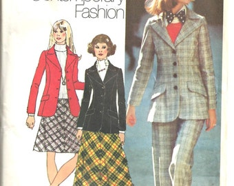 1970's Simplicity Pattern 5212 Blazer, Bias-skirt, and Pants  Size 10