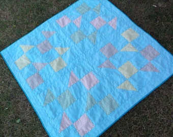 Fishy baby quilt handmade baby quilt swimming fish quilt