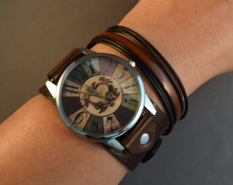 Leather Watch-Brown Watch-Birthday Gifts-Mens Watch-Women Watches-Jewelry Set-Gift for Him-Gift for Her-Gifts-Men's Bracelets