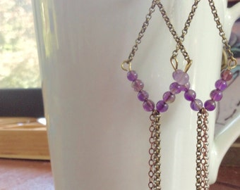 Edie Sedgwick's Chic energy Amethyst earrings Retro inspired 60s and 70s