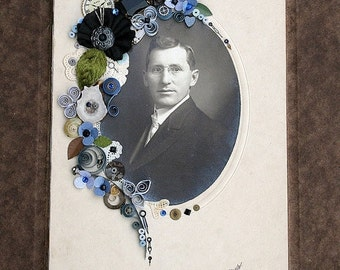 ON SALE Handsome Antique Cabinet Card Photo of Man Gentleman Embellished with Quilling Ribbonwork Semi Precious Gems - Original Art- Joseph