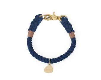 SALE Vegan Rope Dog Collar, Sea Dog