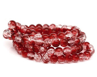 100pcs - 8mm - Strawberry - Red and Clear Crackle Glass Round Beads - 8mm - 30.75 inch strand