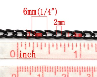 """10M (32.8 Ft) - Black Aluminum Curb Chain Link-Opened - 6mm x 3.5mm (1/4"""" x 1/8"""") - High Quality!"""