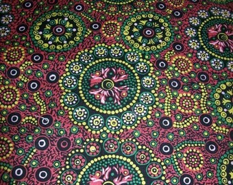 Per Yard Aboriginal Fabric 100% Cotton/ Wild Desert Flowers Australian fabric/ for Clothing /Home Decor/ crafts and quilting