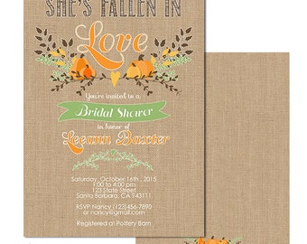 She's Fallen in love, Fall Bridal Shower Invitation, Fall Wedding Shower Invitation, Pumpkin Bridal Shower Invite, Printed or Digital C168