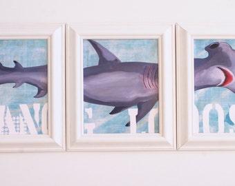 Shark Decor Framed Triptych Whale Art Beach Decor Beach Kids Room Beach Baby Nursery Whale Baby Nursery Christina Rowe Beach Art Mangoseed