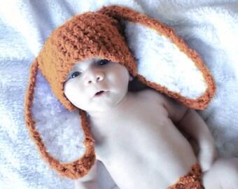 SALE 0 to 3m Orange Bunny Hat, Newborn Bunny Costume, Baby Hat, Newborn Hat, Boy Girl Newborn Bunny Ears, Newborn Prop Shower Gift