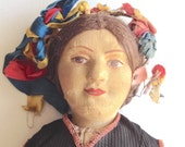 Russian stockinette doll, vintage 1930s cloth 14-inch Ukrainian peasant woman, international ethnic toy, complete, one owner