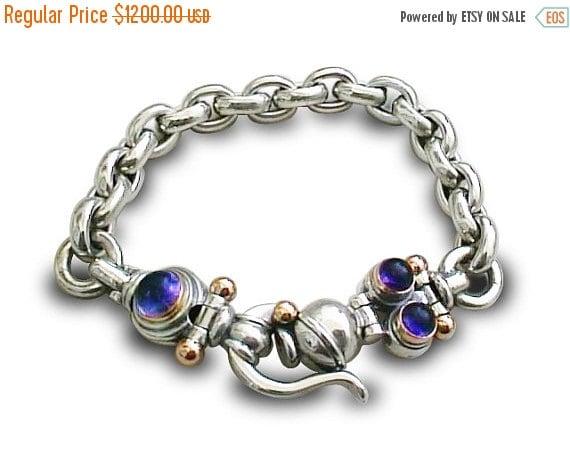 0n sale WOMENS GIFT IDEA Bracelet ,925 Sterling Silver,9k Gold,Iolite Gemstone, for Man and Woman,handmade bracelet,israeli designer ,holida