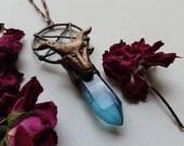 Baphomet Aqua Aura Quartz Talisman // Dark Jewelry // Crystal Jewelry // Dark Crystal // Copper // Crystal Point