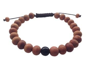 Tibetan mala Wood bead Wrist mala Bracelet with black onyx Spacer for meditation