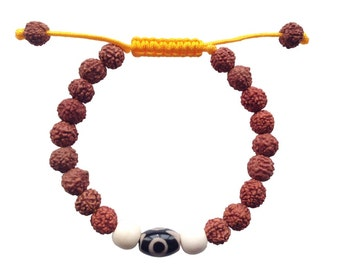 Tibetan Mala Rudraksha Wrist Mala/ Bracelet with two  eye dzi bead