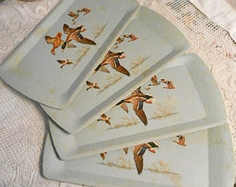 4 Kentley MALLARD DUCK TRAYS Decals Pastel Gray Textured, 1950s Individual Servers, Picnic Summer Porch Lunch Tv Lap Tea, Pressed Cardboard