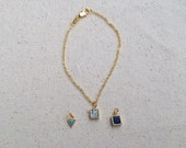 Tiny charm 14k gold filled bracelet / Choose your charm / Gold plated triangle turquoise, square howlite, square lapis / fine jewelry